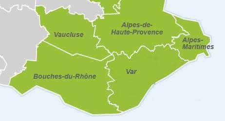 kaart departementen Azurenkust