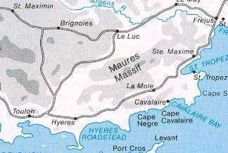 Kaart Massif des Maures