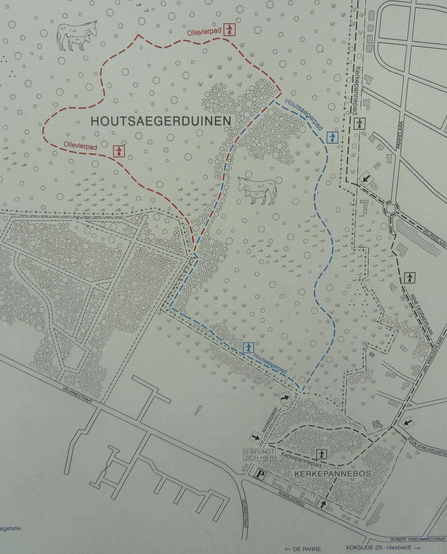 Kaart Houtsaegerduinen