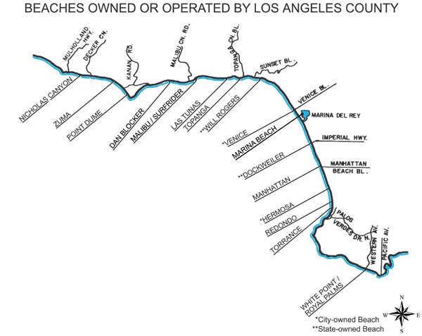 Kaart LA Beaches