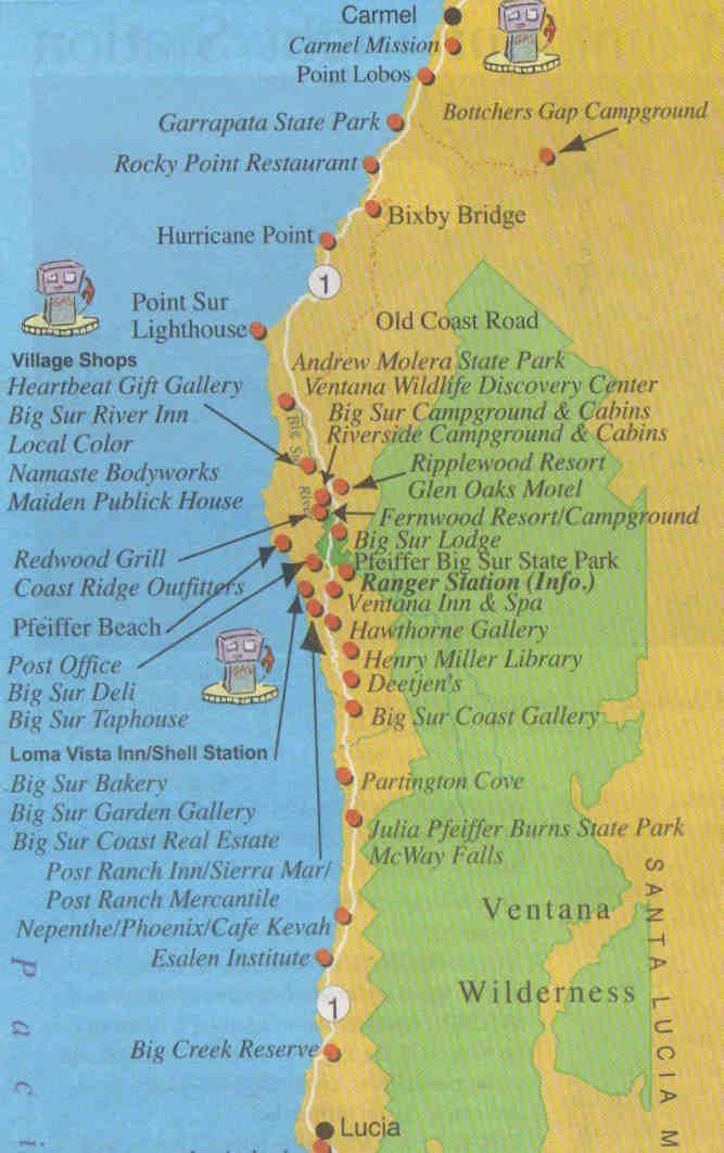Kaart Big Sur