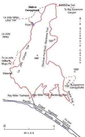 Kaart wandeling La Jolla Canyon Trail