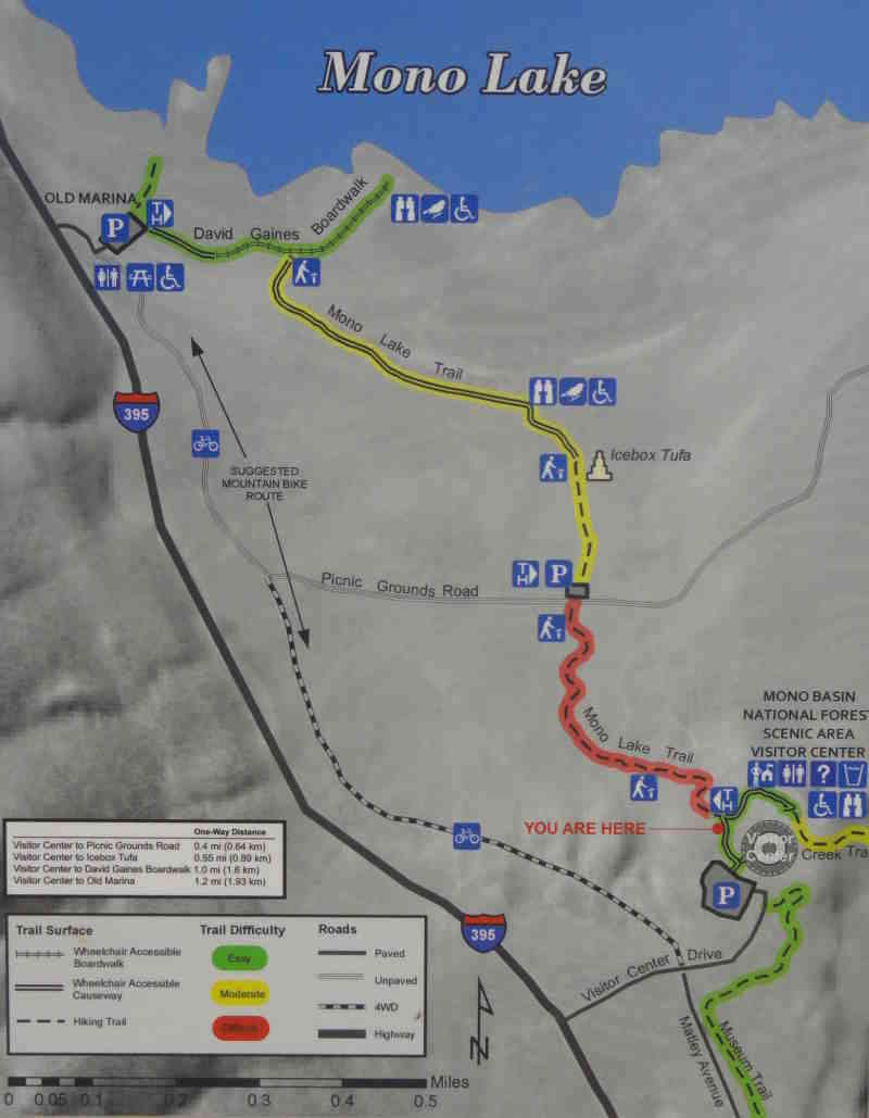 Kaart Mono Lake - wandeling