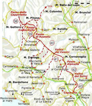 Alta via in de provincie La Spezia