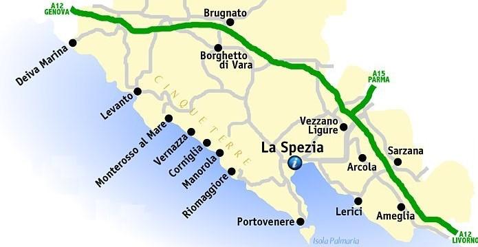 Carte Cinque Terre - de Deiva Marina à Portovenere