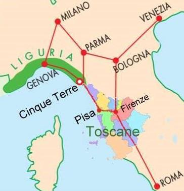 Carte Cinque Terre - Ligurië - Toscane