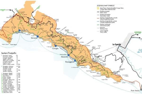 Carte de marche Cinque Terre