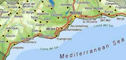 Kaart Costa del Sol