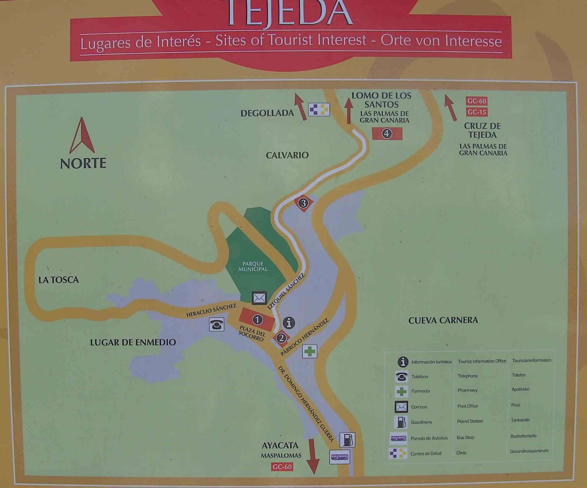 Kaart Tejeda