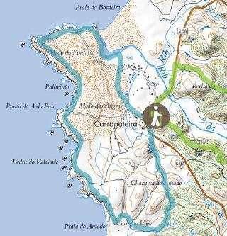 Kaart Carrapateira - visserspad